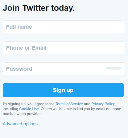 注册推特账号